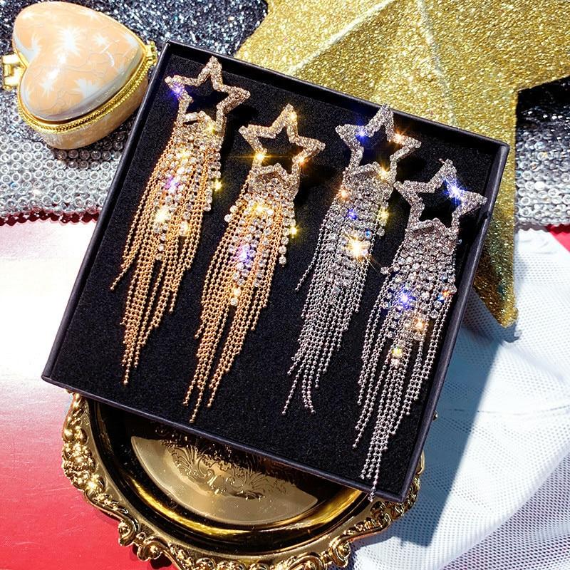 FYUAN Fashion Long Tassel Crystal Earrings for Women 2019 Bijoux Luxury Shiny Gold Color Star Dangle Earrings Jewelry Gifts