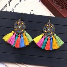Bohemian long tassel earrings  women colorful minimalist ethnic dream catcher fringe dangle hanging charm jewelry gift