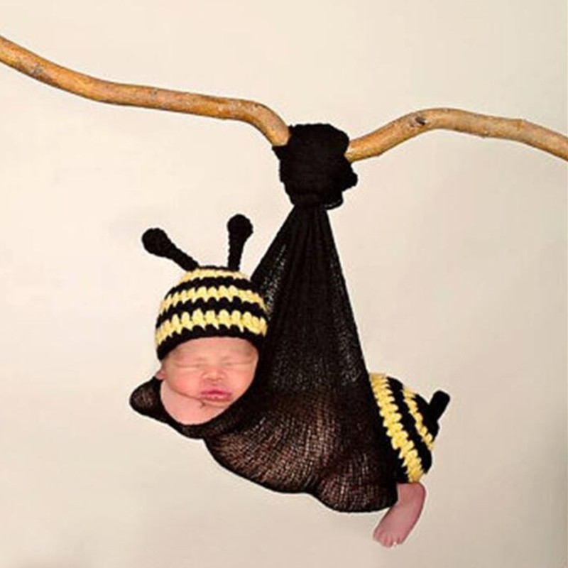 Newborn Photography PropsCrochet Baby Costume Baby Photo Props Cute Baby Bee Hat Wrap Outfits Studio Photography Accessories