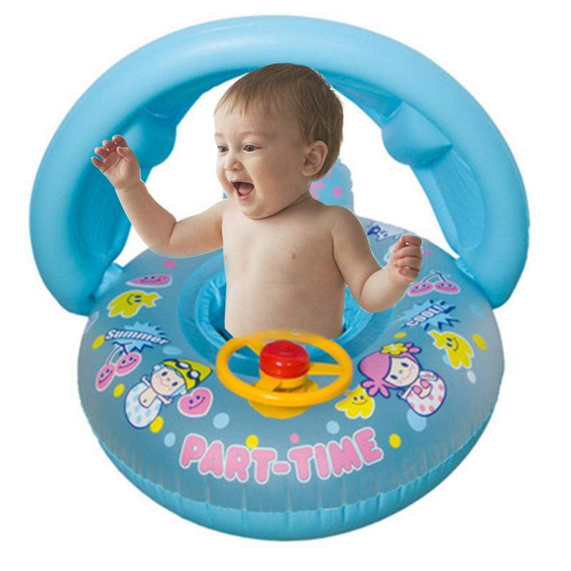 Baby Sunshade Thickening Swimming Boat With Shade Cartoon Children Inflatable Swim Ring Steering Wheel Baby Seat Ring