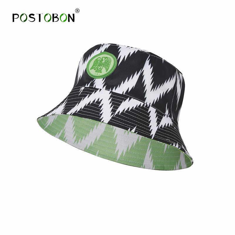 5c70b77bb20a2d Postobon 2019 Nigeria Reversible Bucket Hat Cap Soccer Fashion Summer  Fisherman Hats Caps Sunscreen Hip Hop
