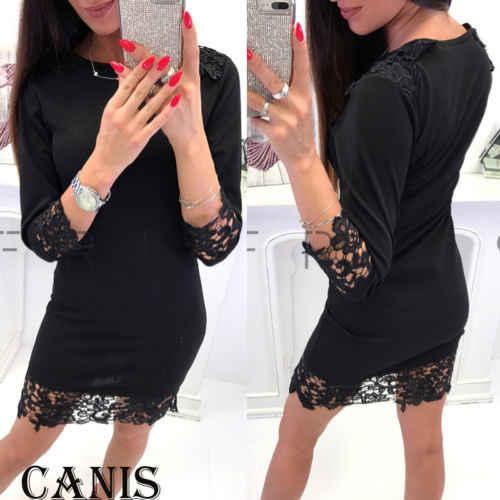 78d2754fadd2a Long Sleeve Stretchy Sexy Club Lace Bodycon Dress 2019 Autumn Women Black  Red Fashion Elegant Women