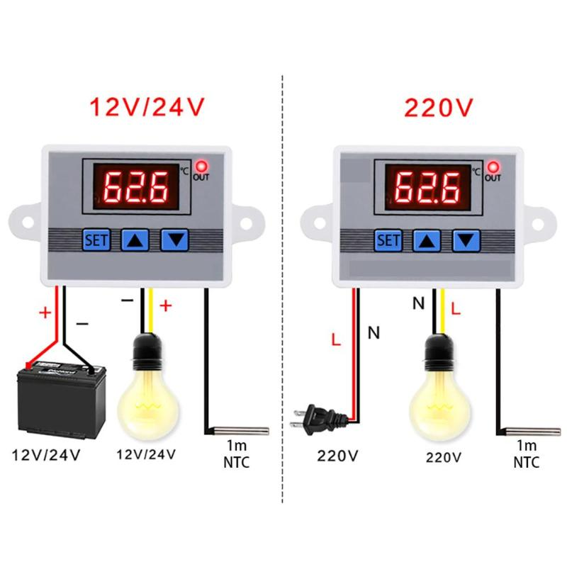 10A 12V 24V 220VAC Digital LED Temperature Controller <font><b>W3002</b></font> for Arduino Cooling Heating Switch Thermostat NTC Sensor image