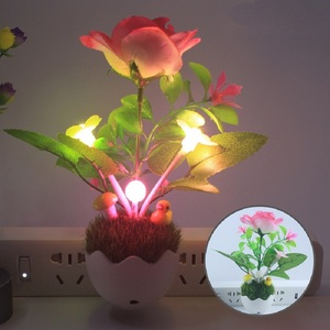 Image 4 - Night light control intelligent led Nightlights color changing mushroom light simulation plant 100V 240V US plug Night light