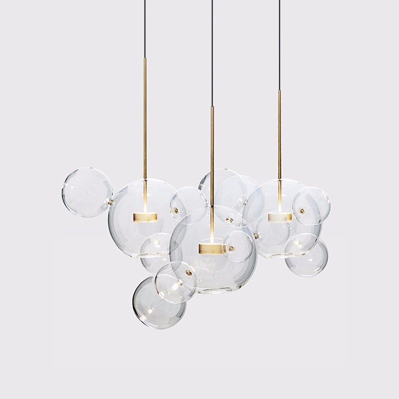 Modern LED Pendant Lights Fixtures Clear Glass Ball Luxury Home Hanging Lamp For Living Dining Room