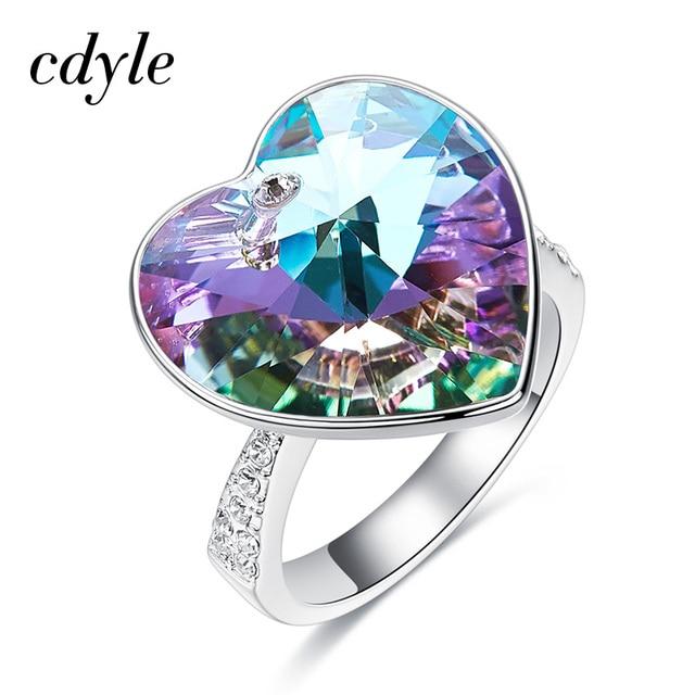 Cdyle Ringen Casamento Jóias Anel Mulher Decorado com cristais de Swarovski Presentes Para As Mulheres Anel de Dedo