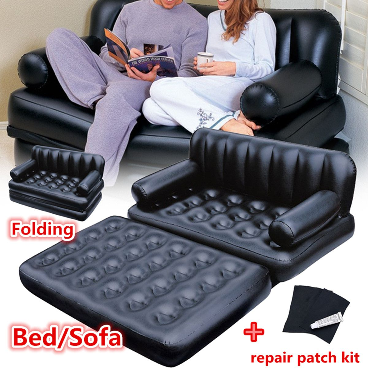 Large Inflatable Garden Sofa Lounge Blow Up Double Air Bed  1