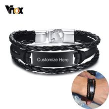 Vnox Free Engraving Name Bracelets For Men Braided Leather With Glossy Stainless Steel ID Bar Layered Male Wristband(China)