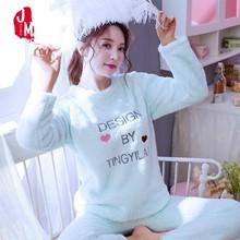 Winter Thick Women Pajama Sets Flannel Warm 2 PCS Pajamas Coral Fleece Suits Felmale Sleepwear Sleep Pyjama Female Homewear XXL