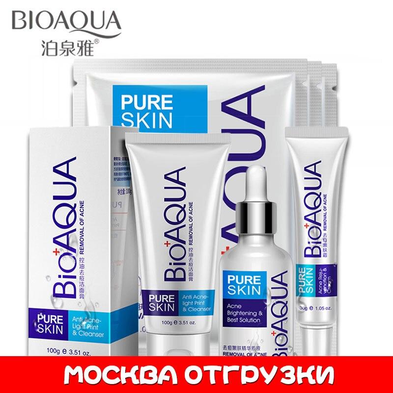 Bioaqua anti acne conjunto de cicatrizes de tratamento de cuidados com o rosto anti acne remoção gel clareamento hidratante cicatriz encolher poros conjunto 4 pcs