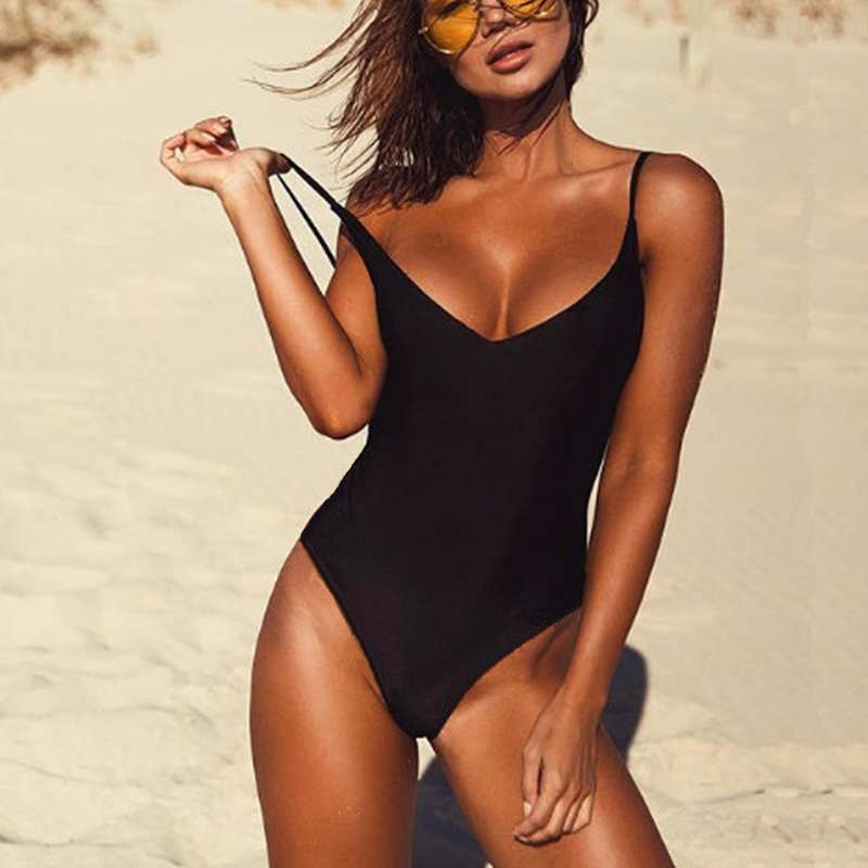 2019 Summer Bodysuits One Piece Swimsuit Women V Nack Swimwear Female Solid Black Thong Backless Monokini Bathing Suit XL in Bodysuits from Women 39 s Clothing