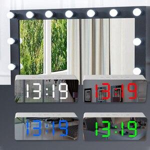 Image 2 - Led مرآة ساعة تنبيه غفوة الرقمية ساعة الطاولة مع ميزان الحرارة USB قابلة للشحن شاشة إلكترونية كبيرة متعددة الوظائف