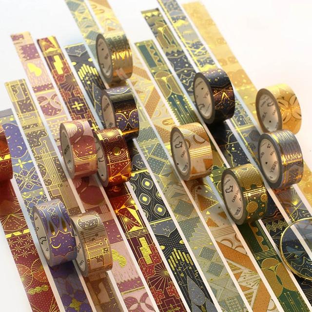 Cintas de Washi de papel de oro de 5 m * 15mm geometría creativa del estilo islámico cintas adhesivas decorativas de enmascaramiento para Scrapbooking Diy decoraciones