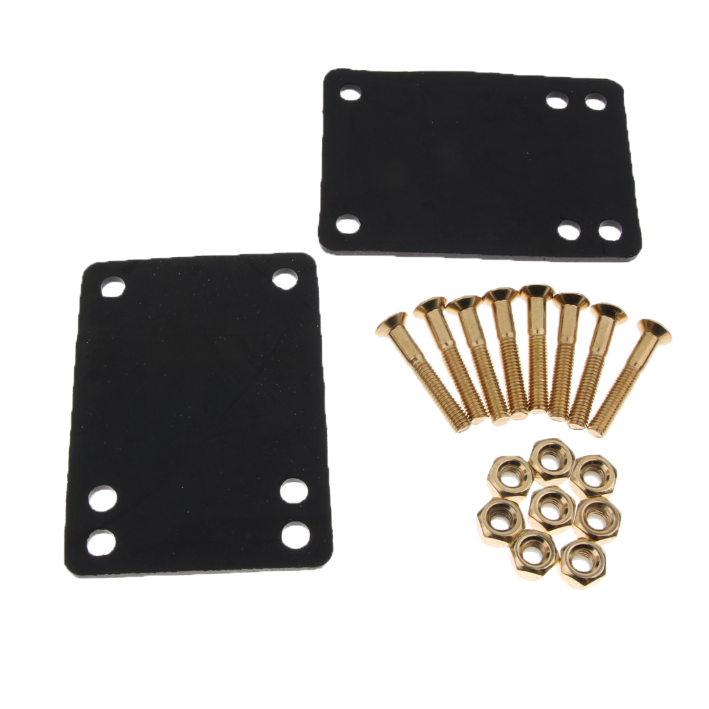 Skateboarding Accessories 2pcs Skateboard Riser Pads Black With 8 Sets Skateboard Screws