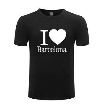 1a6204278750e Me encanta Barcelona creativo de los hombres camiseta T camisa de los  hombres 2018 nuevo manga corta de algodón de cuello Casual Tee Top