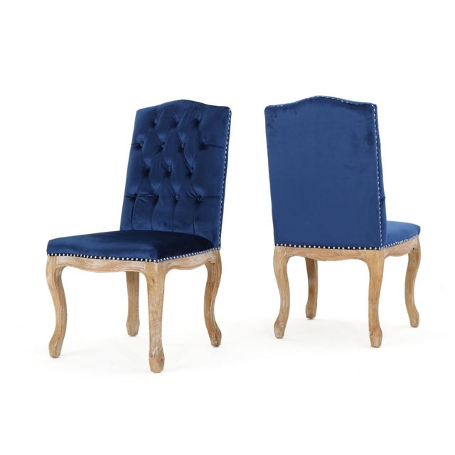 Navy Blue Dining Chairs Set Of 2 Chair Covers B And M Cello New Velvet In