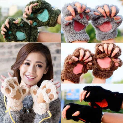נשים חמוד חתול טופר Paw כפפות בפלאש חם רך קטיפה קצר ללא אצבעות פלאפי דוב חתול כפפות תלבושות חצי אצבע שחור בז'
