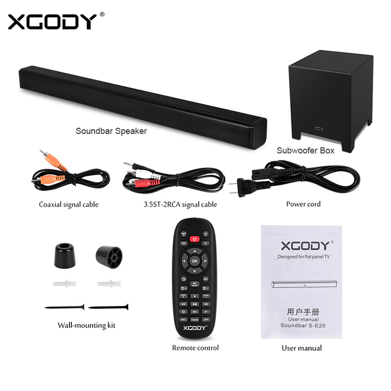 XGODY S-E20 40 W para TV Home Theater Soundbar Bluetooth Speaker Subwoofer Baixo Aux-In HDMI Coaxial Falantes Sem Fio barra de som