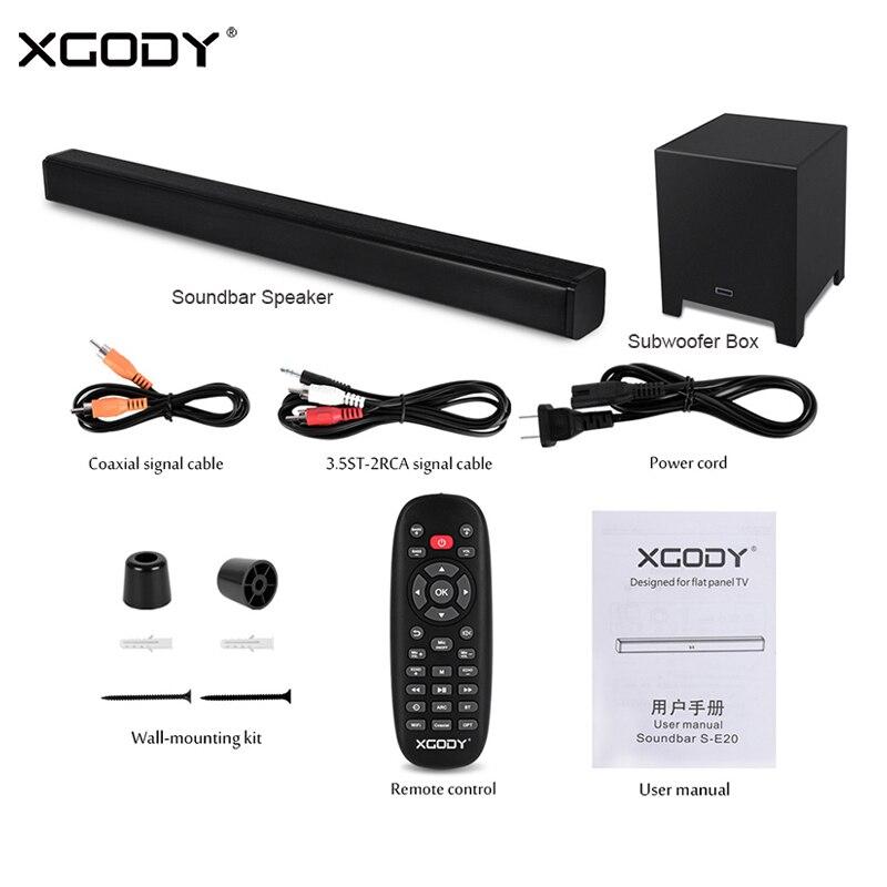 XGODY S-E20 barre de son Bluetooth haut-parleur Subwoofer 40 W pour TV Home cinéma basse Aux-In Coaxial HDMI sans fil haut-parleurs barre de son