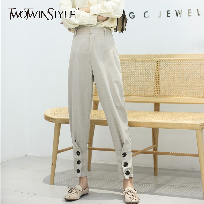TWOTWINSTYLE Apricot Harem Pants Female High Waist Buttons Ankle Length Trousers For Women Spring Casual 2019 Fashion New