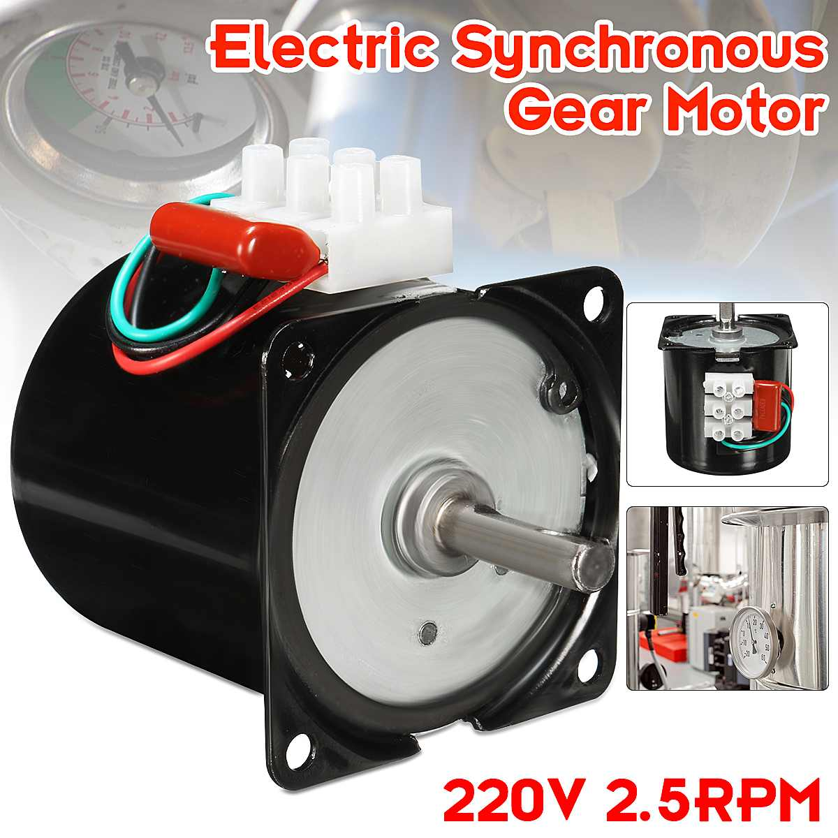 New AC 220V 2.5RPM High Torque Gear-Box Electric Synchronous Gear Motor ReplacementsNew AC 220V 2.5RPM High Torque Gear-Box Electric Synchronous Gear Motor Replacements
