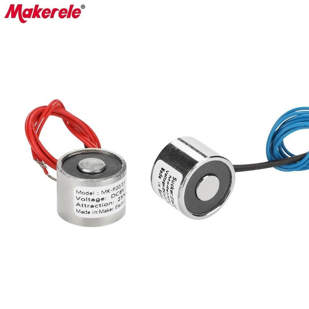 MK20/15 Eletroímã Solenóide de Elevação 2.5 KG/25N Segurando Ímã Otário Eletroímã Solenóide Elétrica DC 6 V 12 V 24 V À Venda