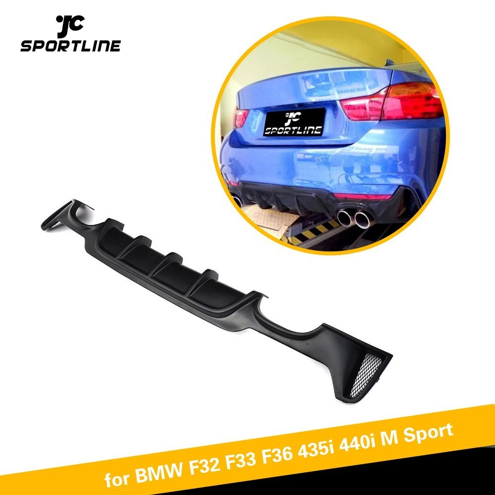 Rear Bumper Lip Spoiler For BMW F32 F33 4 Series M Sport Only 2014-2017 435i 420i Cabriolet Four Outlet Diffuser SpoilerRear Bumper Lip Spoiler For BMW F32 F33 4 Series M Sport Only 2014-2017 435i 420i Cabriolet Four Outlet Diffuser Spoiler
