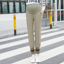 b4ff168b98a758 Spring fashion pregnant women abdomen haroun trousers slacks solid color  high waist maternity belly pants with