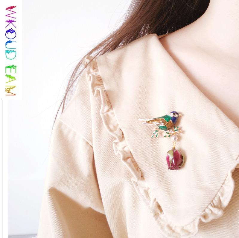 WKOUD EAM 2019 Fashion Metal Coloured Glaze Jewelry Natural Rose Pendant Brooches For Women Coat Dress Charm Corsage S#TA296