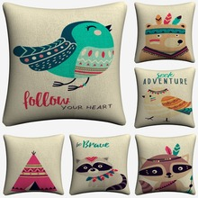 Adventure Wild Native Animals Kids Decorative Pillow Covers For Sofa Home Decor Linen Cushion Case 45x45cm Throw Pillow Cases new year buck flower bird decorative pillow covers for sofa home decor linen cushion case 45x45cm throw pillow cases