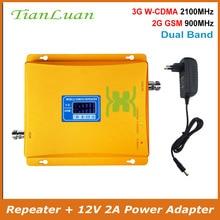 Repetidor de señal de teléfono móvil TianLuan Amplificador de señal móvil 2G 3G GSM 900MHz W CDMA 2100MHz amplificador de señal con fuente de alimentación