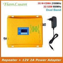 TianLuan komórkowy wzmacniacz sygnału komórkowego powielacz sygnału do telefonu 2G 3G GSM 900 MHz W CDMA 2100 MHz wzmacniacz sygnału z zasilaczem