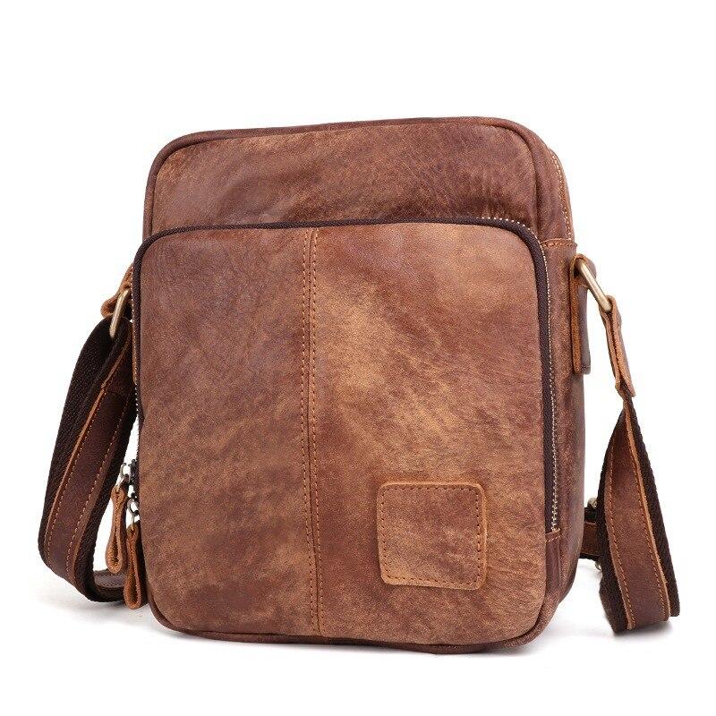 Leisure Vintage Leather Men's  Shoulder Bag Crossbody Bag First Layer Of Leather Men's Bag Nubuck Leather Bags