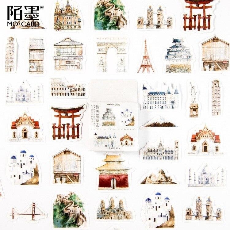 46PCS/box World Architectural History Paper Lable Sealing Stickers Crafts Scrapbooking Decorative Lifelog DIY Stationery Sticker