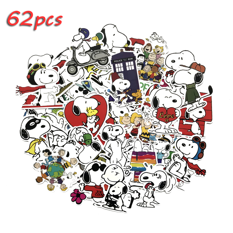 62Pcs/lot Dog Waterproof Stickers Decorate The Cartoon For Snowboard Laptop Luggage Car DIY Styling Vinyl Home Decor Pegatin
