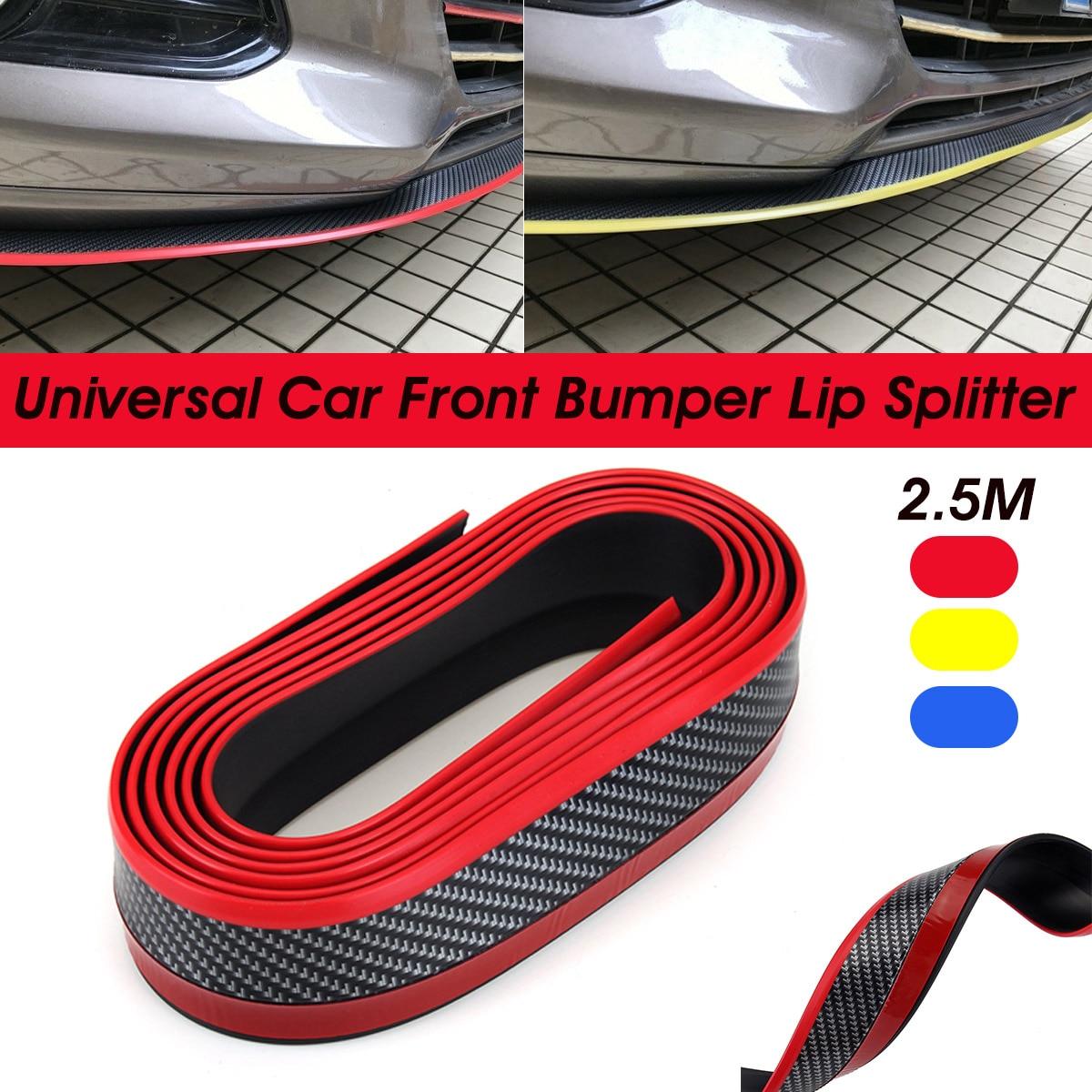 2.5M Universal Rubber Car Front Bumper Strip Lip Scratch Cover Carbon Fiber Look