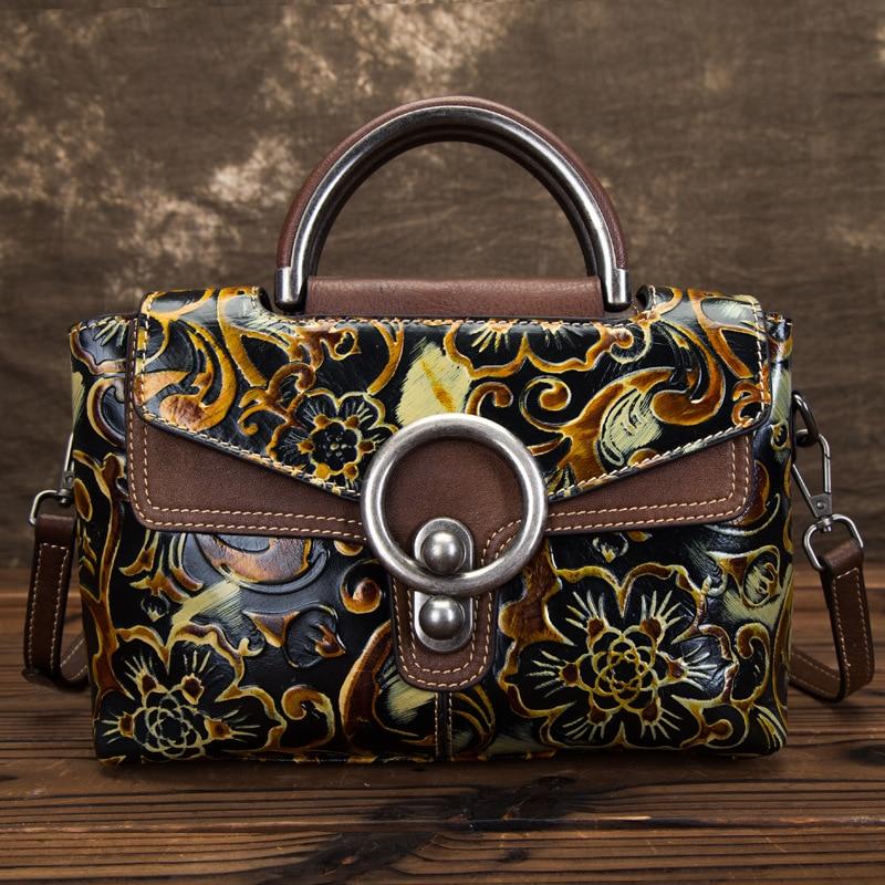 High Quality Shoulder Messenger Women Embossed Bag Handbag Brush Color Leisure Tote Genuine Leather Crossbody Top