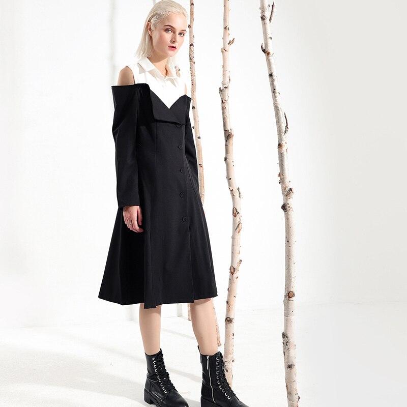 Breased Nouveau Soulder Longues Manches Black apricot Lâche Mode Jh617 De Blanc Robe À Femmes Unique Revers Hiver Printemps eam 2019 Off Caractère qz5SOO