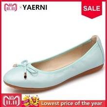 YAERNI Women Foldable Ballet Flats Portable Travel Fold up Shoes Woman  Round Toe Bowknot Slip On f8f94a4094ae