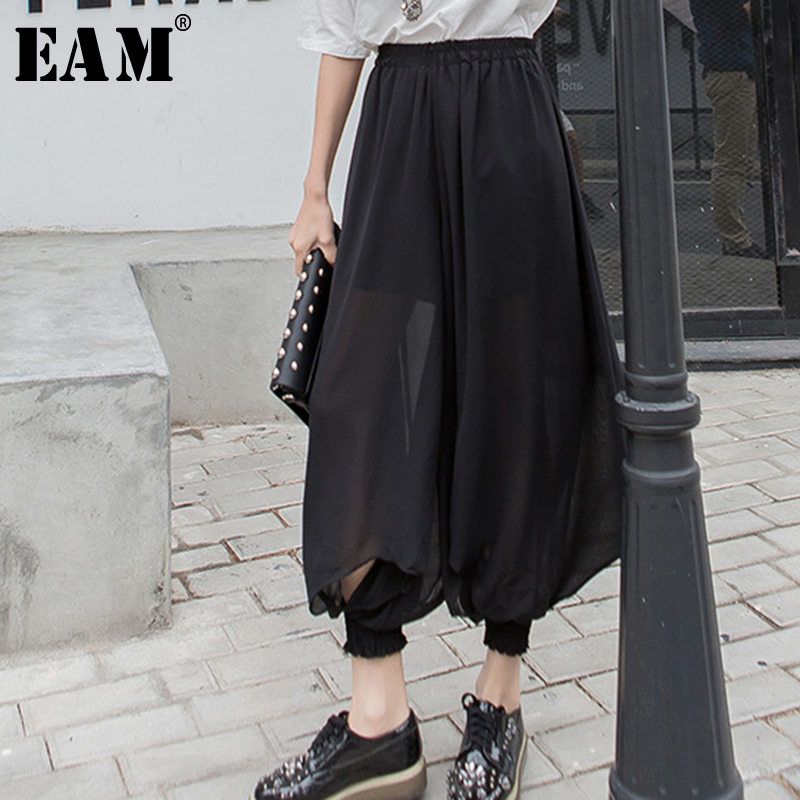[EAM] 2019 Spring Winter Woman Stylish Black High Waist Elastic Waist Draped Hollow Out Loose Chiffon   Wide     Leg     Pants   LE520