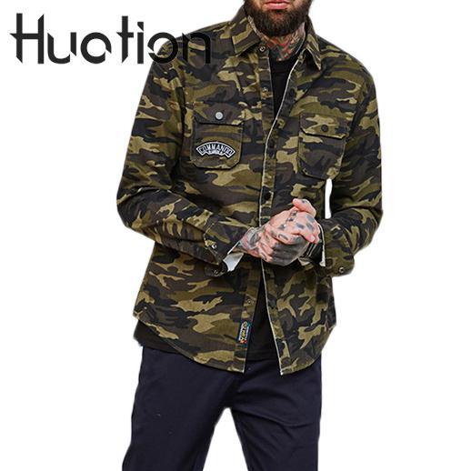 Huation nouvelle mode Camouflage Cargo militaire chemise hommes Camisa Social Masculina Style militaire Hip Hop hommes chemises veste