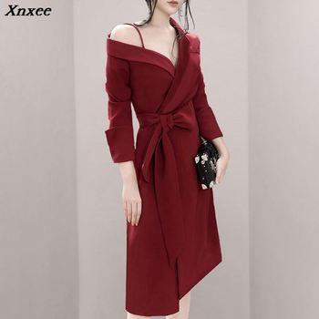 03f468ed04f Xnxee 2019 новое женское сексуальное красное платье с длинным рукавом