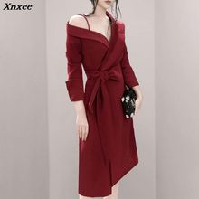 Xnxee 2019 New Women Sexy Red Dress Full Sleeve Sashes Bow Mid-Calf Length Lady Asymmetrical Fashion V-Neck