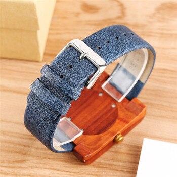 Elegant Womens Wood Watch Minimalist Analog Quartz Wrist Genuine Leather Watches Ultra-light Red Wooden Clock Gifts Lady Reloj