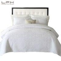 LFH Стёганое одеяло комплект белый король Размеры классической схеме хлопковые стеганые покрывала и кашне комплект легкий мягкий BlanketThrow