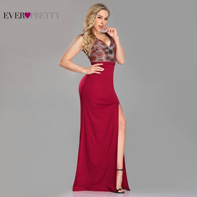 Bodycon Burgundy Evening Dresses Long Ever Pretty Deep V-Neck Lace Formal Dresses with sequin EZ07729BD Elegant Party Gowns