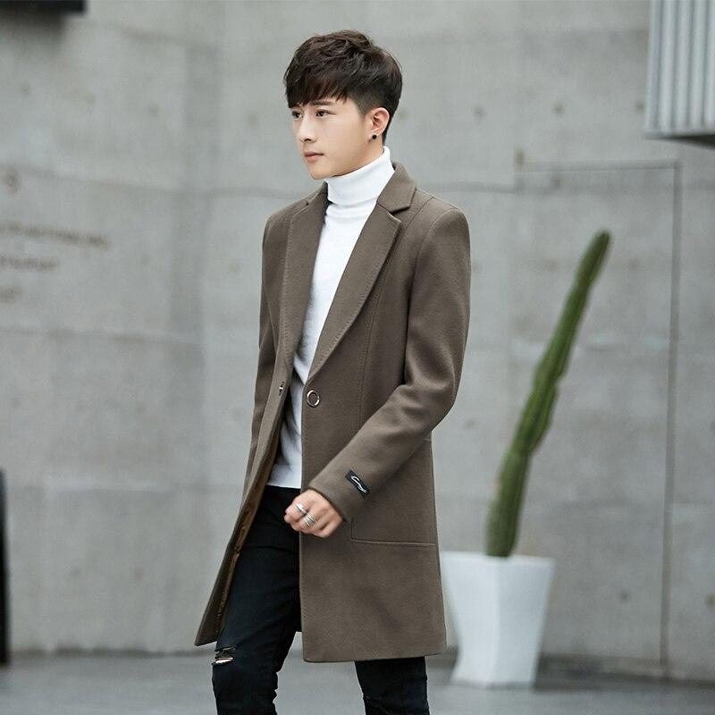 Двусторонняя шерстяная пальто мужские кашемировые пальто с длинным разрезом корейской молодежи ветровка британский стиль