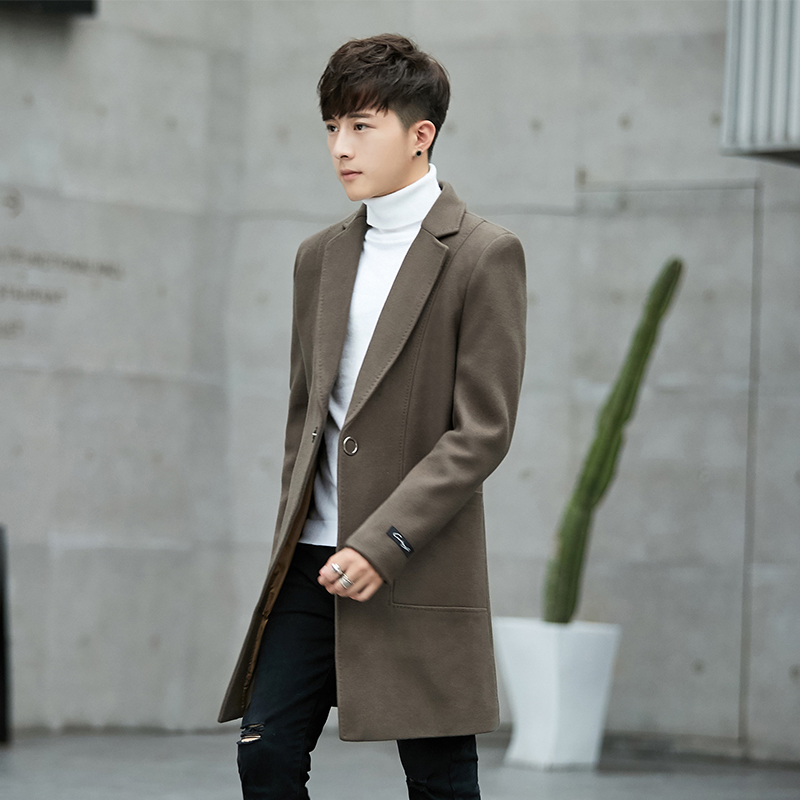 Double-sided woolen wool coat men's cashmere coat in the long section of the Korean youth windbreaker British style