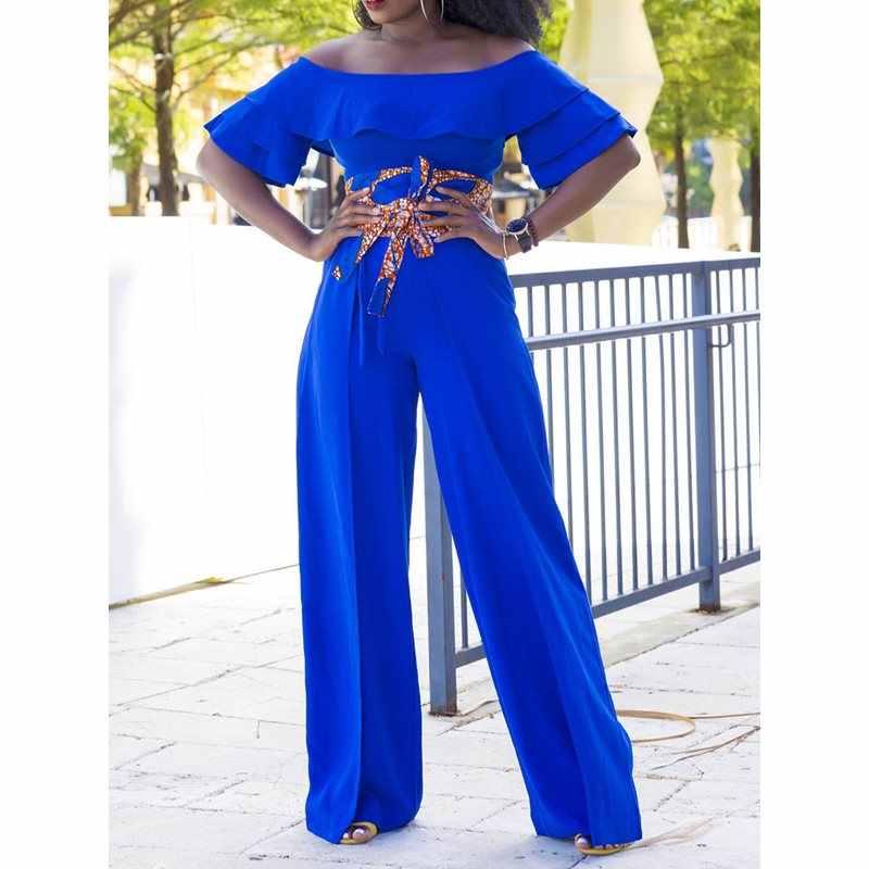 Сексуальный комбинезон с открытыми плечами женские брюки с широкими штанинами с высокой талией тонкий летний модный синий Элегантный Дамы рябь вечерние длинные Комбинезоны