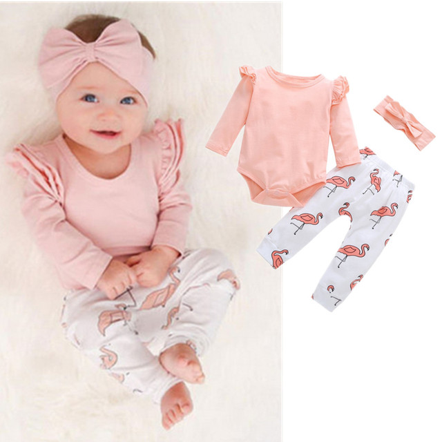 Baby Girl Fall Clothes Newborn Pink Puff Sleeve Bodysuit Flamingooutfit Pants Headband 3 Pieces Clothing Set Newborn Clothing